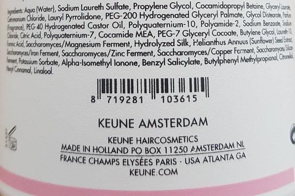 Šampūnas dažytų plaukų apsaugai Keune Care 300ml sudedamosios dalys