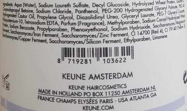 Šampūnas didinantis plaukų apimtį Keune Care 300ml sudėtis