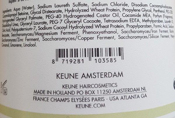 Šampūnas slenkantiems plaukams Keune Care 300ml sudėtis