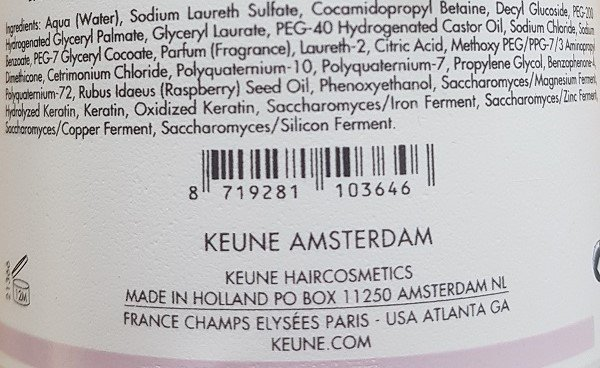 Šampūnas garbanotiems plaukams Keune Curl 1L sudėtis