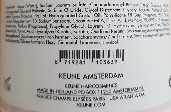 šampūnas su keratinu keune care keratin smooth 1L sudetis
