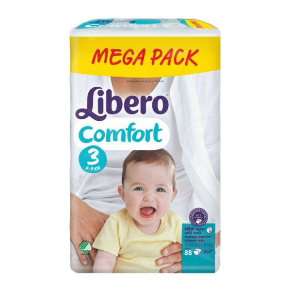 Sauskelnės Libero Baby Comfort 3, 4-9 kg, 88 vnt.