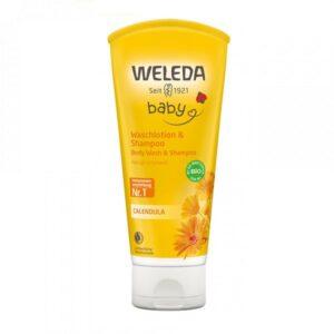 Šampūnas ir kūno prausiklis kūdikiams su medetkomis Weleda Calendula 200ml