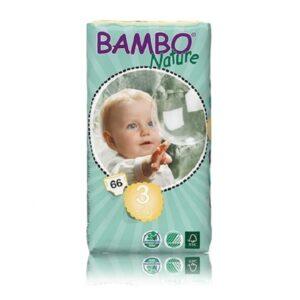 Sauskelnės Bambo Nature Duo Midi 3, 5-9kg, 66vnt.