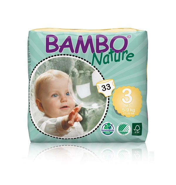 Sauskelnės Bambo Nature Midi 3, 5-9kg, 33vnt.