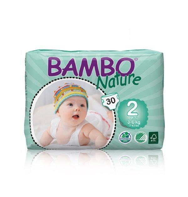 Sauskelnės Bambo Nature Mini 2, 3-6kg, 30vnt.