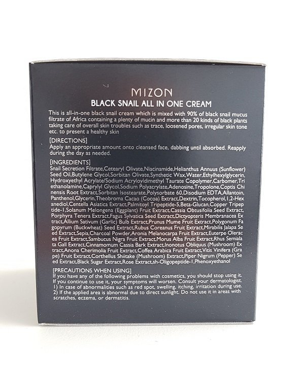 Veido kremas su juodųjų sraigių ekstraktu Mizon sudetis