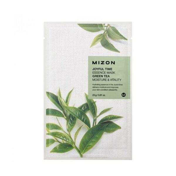 Drėkinanti lakštinė veido kaukė su žaliąja arbata Mizon