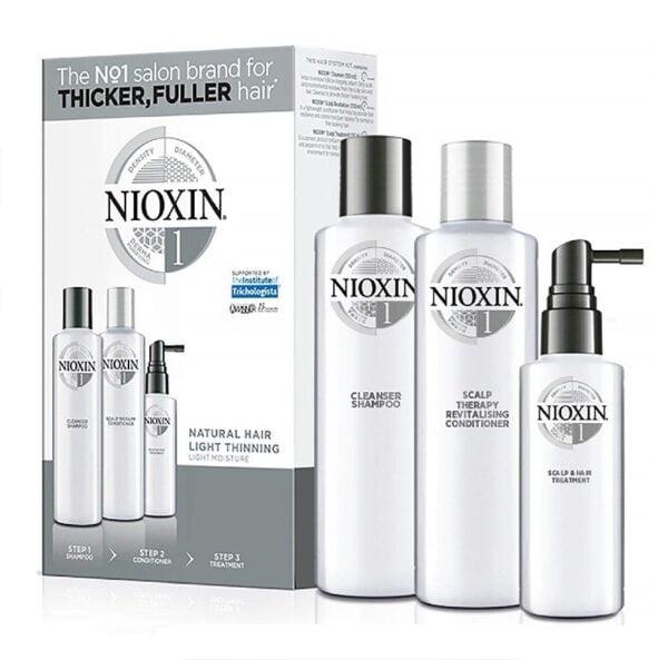 Rinkinys slenkantiems plaukams Nioxin sistema nr.1 natūraliems - silpnai retėjantiems