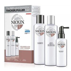 Rinkinys slenkantiems plaukams Nioxin sistema nr.3 dažytiems - silpnai retėjantiems
