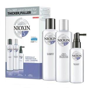 Rinkinys slenkantiems plaukams Nioxin sistema nr.5 chemiškai pažeistiems - silpnai slenkantiems