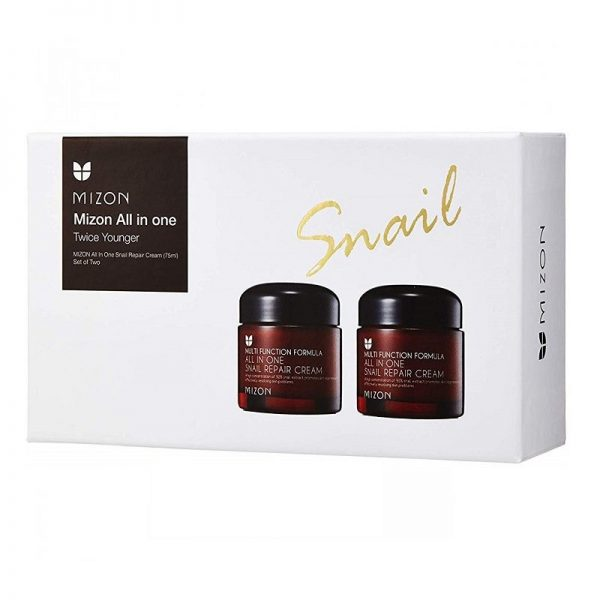 Daugiafunkcinio veido kremo rinkinys Mizon All In One Snail Repair 2x75ml