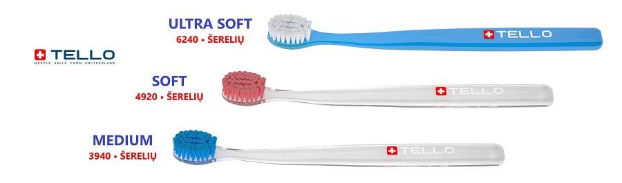 Tello Šveicariški dantų šepetėliai