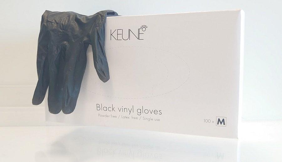 Vienkartinės pirštinės Keune Black Vinyl M dydžio100 vienetų
