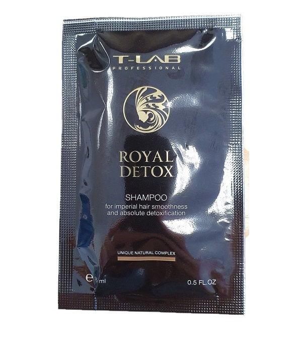 Detoksikuojantis plaukų šampūnas T-Lab Royal Detox 15ml (kelionėms)