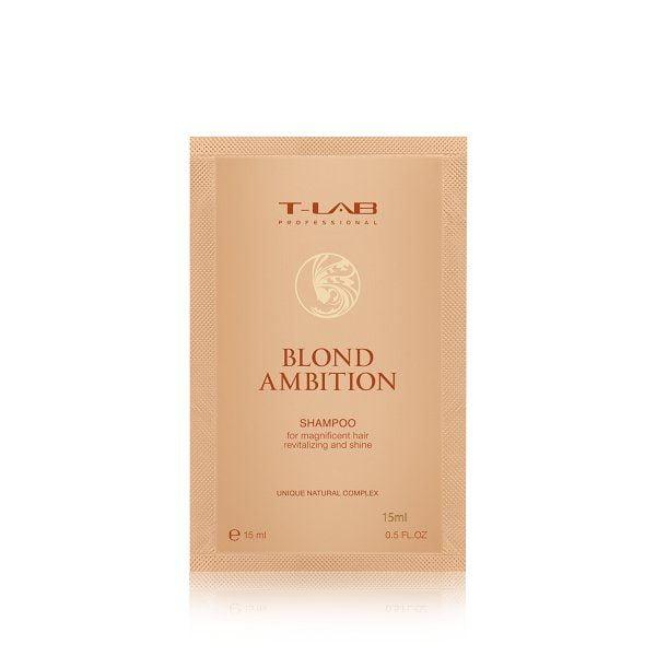 Šampūnas šviesintiems plaukams T-Lab Blond Ambition 15ml (kelionėms)