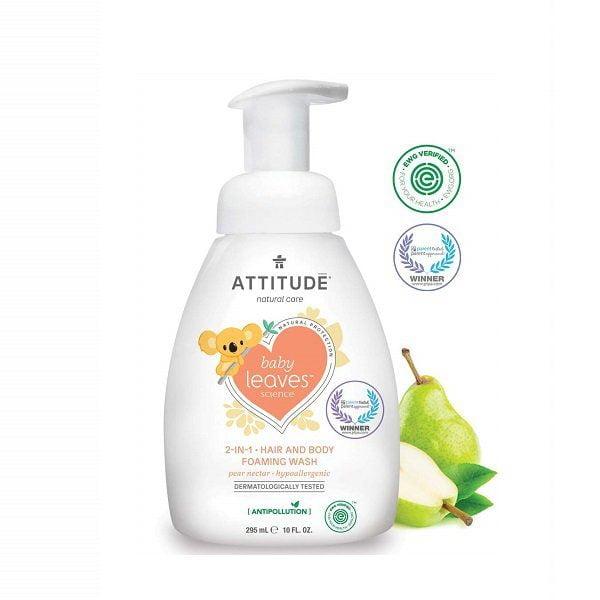 Šampūnas ir kūno prausiklis vaikams Attitude Baby Leaves 295ml
