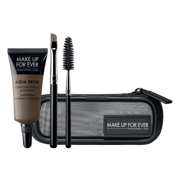 Rinkinys antakiams atsparus vandeniui (dažai+2 teptukai) Make up for ever AQUA BROW KIT Nr25 7ml