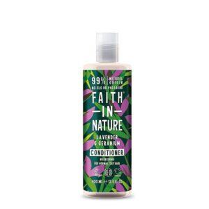 Kondicionierius maitinantis plaukus Faith in Nature 400ml (su levandomis, pelargonijomis)