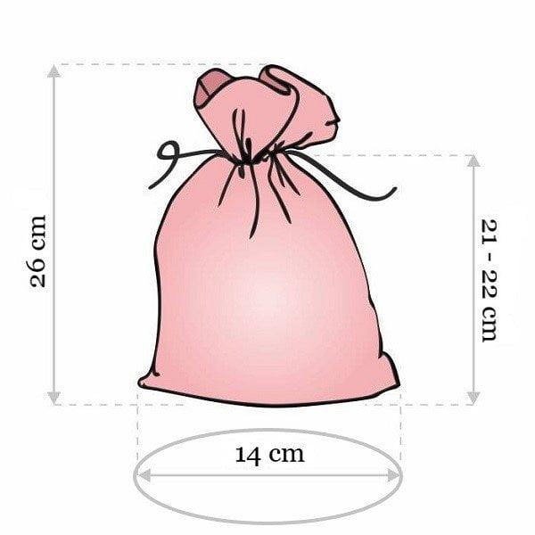 Prabangaus rankų darbo aksomo maišelio išmatavimai 14 cm x 21 cm