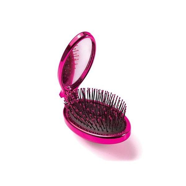 Sulenkiamas plaukų šepetys WetBrush Pop&Go Metalic (rožinis, su veidrodėliu) vaizdas