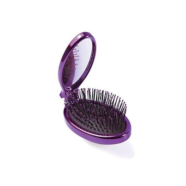 Sulenkiamas plaukų šepetys WetBrush Pop&Go Metalic (violetinis, su veidrodėliu) vaizdas