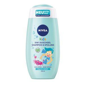 Šampūnas, kondicionierius ir prausiklis vaikams Nivea Kids 3in1 250 ml (obuolių kvapo)