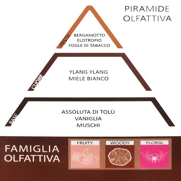 Namų kvapo THD Botanic Tabacco Toscano aromatų piramidė