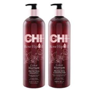 Rinkinys dažytų plaukų spalvos apsaugai CHI Rose Hip Oil Duo 739ml+739ml