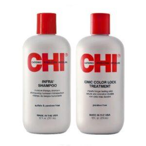 Rinkinys dažytų plaukų stiprinimui CHI Infra Duo 355ml+355ml mamaimam