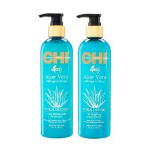 Rinkinys garbanotų plaukų drėkinimui CHI Aloe Vera Curl Duo 340ml+340ml