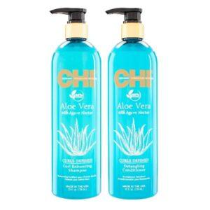 Rinkinys garbanotų plaukų drėkinimui CHI Aloe Vera Curl Duo 739ml+739ml