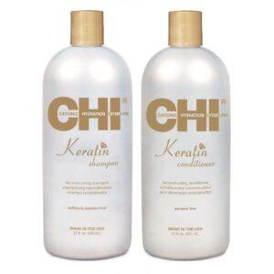 Rinkinys plaukų atkūrimui su keratinu CHI Keratin Duo 946ml+946ml